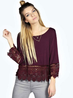 Oversized Long Sleeve Lace T Shirt Cut Out In Black/Burgundy
