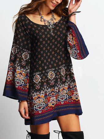 Scoop Long Sleeve Tribal Print Shift Dress Oversized Tunic Dress