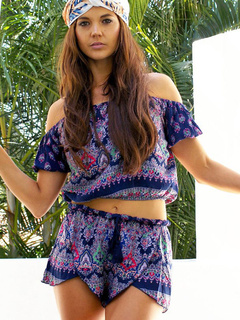 Off The Shoulder Two Piece Sets Tribal Print Short Sleeve Top With Short