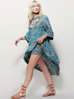 Boho Dress Blue Full Sleeve Oversized Printed Long Dress