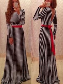 Long Dress Striped V Back Long Sleeve Maxi Dress