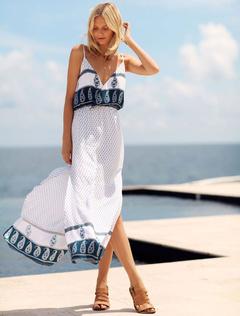 Straped V Neck Summer Dress Backless Split Side White Chiffon Dress For Women