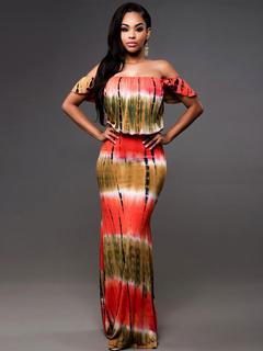 Women's Maxi Dress Printed Off The Shoulder Maxi Dress
