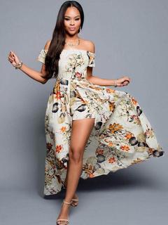 Boho Maxi Dress Off-the-shoulder Split Front Long Chiffon Dress