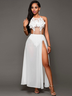 528a8e7b38bfa6 Women s Chiffon Club Dress Lace Embroidered Strap Split White Sexy Dress