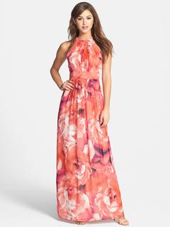 Jewel Sleeveless Long Dress Chiffon Floral Maxi Dress