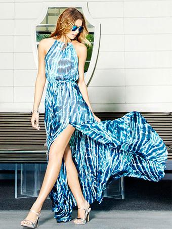 Blue Dress High Split Sleeveless Printed Maxi Dress