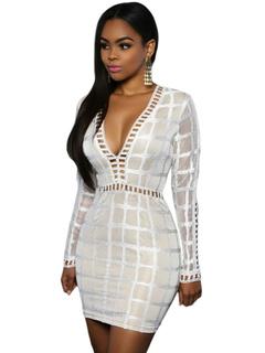 Sexy Mini Bodycon Dress Plunge Neck Black/White Club Dress