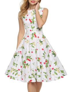 Bateau Sleeveless Floral Print Vintage Dress With Full Skirt