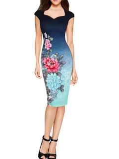 Deep Blue Ombre Cap Sleeve Pencil Dress Sweetheart Floral Print Bodycon Dress