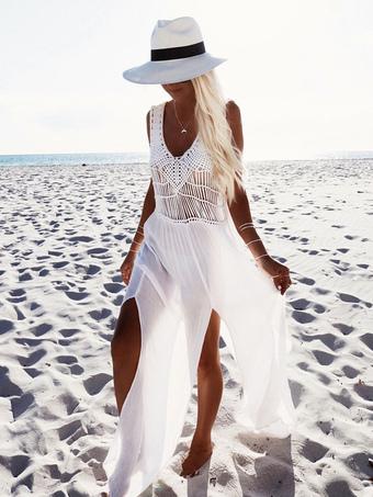 White Maxi Dress V-neck Sleeveless Slits Semi-Sheer Long Chiffon Dress For Women