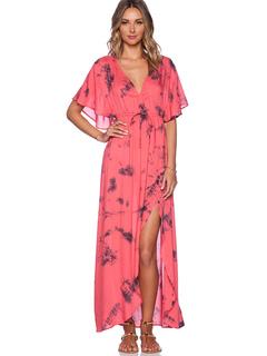 Boho Maxi Dress Women's Split Chiffon V-neck Batwing Half Sleeve Floor Length Dress