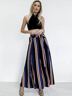 Colorful Striped Tie Waist Wide Leg Pants