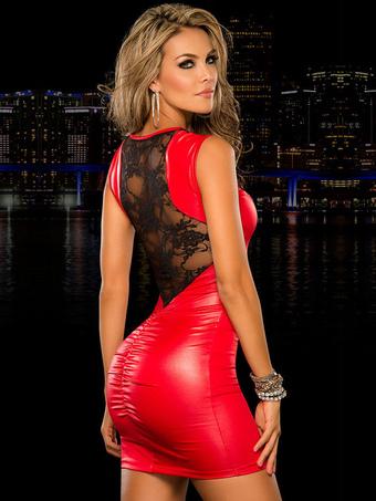 PU Club Dress Red Lace Sleeveless Slim Fit Sexy Dress