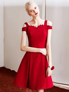 Red Vintage Dress Women's Strap Off-the-shoulder Skater Dress