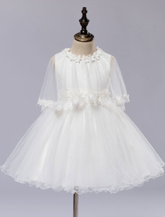 Toddler's Pageant Tutu Dress White Flower Girl Dress With Tulle Lace Wrap