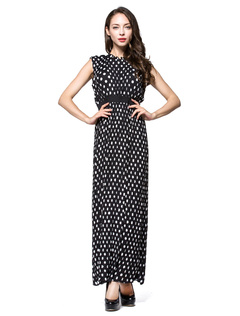 Vintage Maxi Dress Women's Plus Size Chiffon Polka Dot Embellished Collar Sleeveless Retro Long Dress