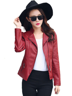 Women Leather Coat Red Motorcycle Leather Jacket