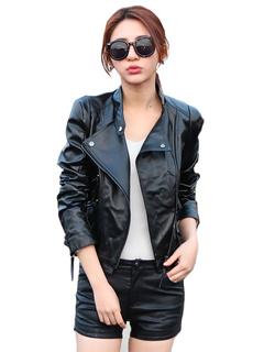 Black Moto Jacket Women's Long Sleeve Stand Collar Zipper PU Leather Jacket