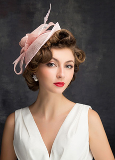 Rosa boda sombrero pluma y Tul novia tocados (20 cm X 50 Cm) d7f9005dfc5
