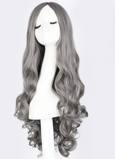 Women's Long Wigs Curly Light Gray Centre Parting Synthetic Hair Wigs