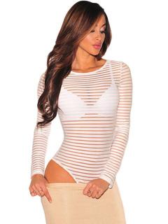 White Women's Bodysuit Long Sleeve Sheer Strip Sexy Lingerie
