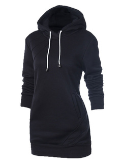 Women's Black Hoodie Long Sleeve Solid Cotton Hoodie