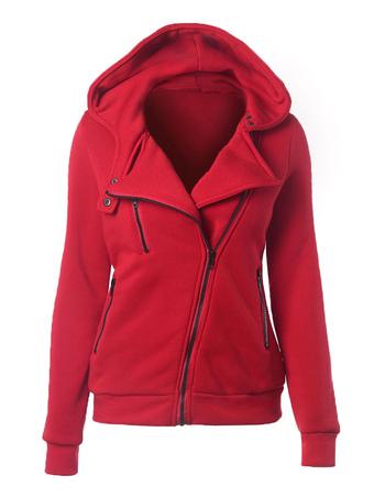 Red Hoodie Women Sports Jacket Long Sleeve Zippered Fleece Hoodie