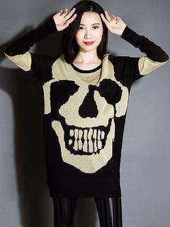 Women's Black Sweater Skull Printed Long Sleeve Pullover