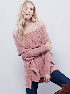 Cable Knit Sweaters Off-the-Shoulder High Low Women's Pullover Knitwear