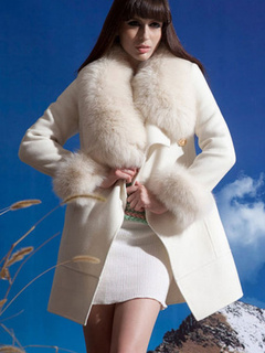 Trench Coat Women White Faux Fur Jacket Shawl Collar Winter Overcoat