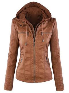 Women Leather Jacket Hoodie Motorcycle Long Sleeve Zippered Leather Coat