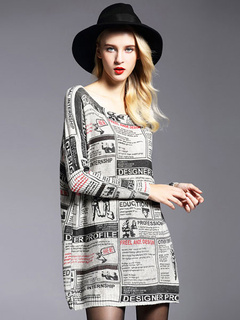 Oversized Sweater Dress Cotton Long Sleeve Letters Printed Knitted Dress For Women
