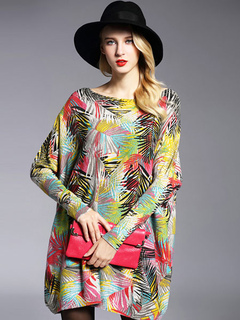 Yellow Sweater Dresses Women's Floral Print Cotton Oversized Knit Sweater