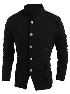 Black/Gray Blazer Mandarin Collar Slim Fit Casual Jacket For Men