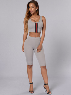 Gray 2-Piece Outfit Women's Sleeveless Slim Fit Crop Top With Pants