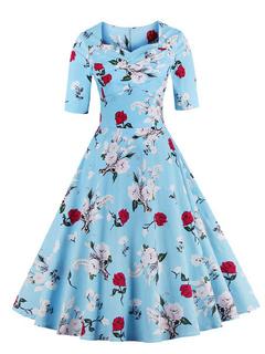 Blue Vintage Dress Floral Print Half-Sleeve Flare Dress For Women