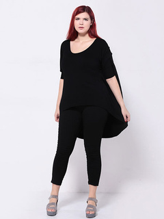 Black Oversized T-shirt Women's 3/4-Length Sleeve High Low Plus Size Tee