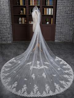 Ivory Wedding Veil Cathedral Lace Applique 1-Tier Long Bridal Veil With Comb(300cm*300cm )