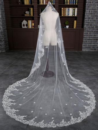 5aa3a1b269 Catedral boda velo de encaje flores cascada nivel 1 300cm velo de novia con  el peine