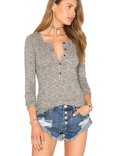 Women's Gray T-shirt Long Sleeve Casual Slim Fit Tops