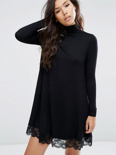 Black Sweater Dress High Collar Long Sleeve Lace Edge Women's Shift Knit Dress
