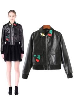 Black Leather Jacket Women's Applique Short Jacket