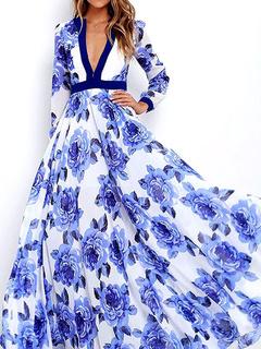 Blue Maxi Dress Women's V-neck Floral Print Long Full Skirt Dress