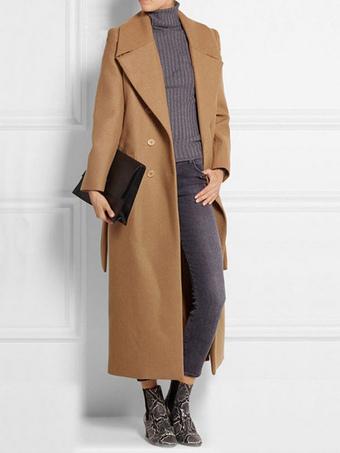 Trench Coat Women Camel Overcoat Long Sleeve Wrap Coat For Winter