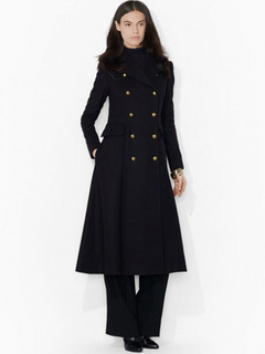 Black Women's Peacoat Long Sleeve Turndown Collar Double-breasted Button Overcoat