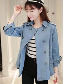 Blue Denim Jacket Distressed Oversized Cloak Outwear