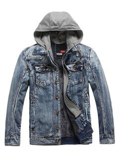 Men's Denim Jacket Black Blue Wash Hooded Jean Jacket