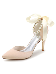Elegant Ivory Wedding Shoes Pointed Toe Pearl Ribbon Ankle Strap Slip On High Heel Bridal  Shoes