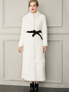 Women Faux Fur Coat White Overcoat Sash Open Front Winter Coats